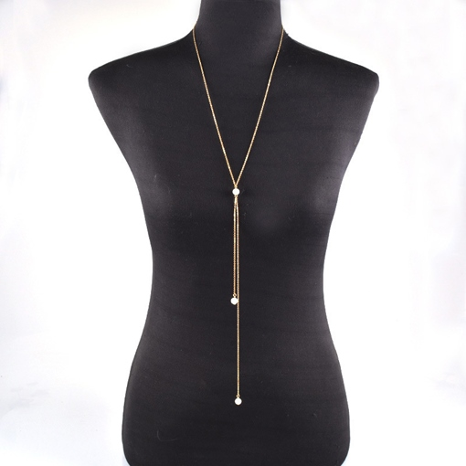 Simple Artificial Pearl Body Chain Necklace