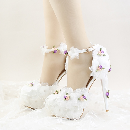 White Lace Floral Platform Shoes for Bridal