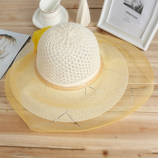 Lace Gauze Flower Straw Hat