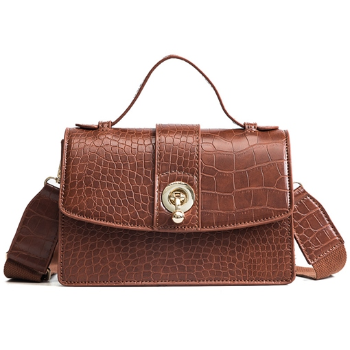 Classic Croco-Embossed Plain Crossbody Bag