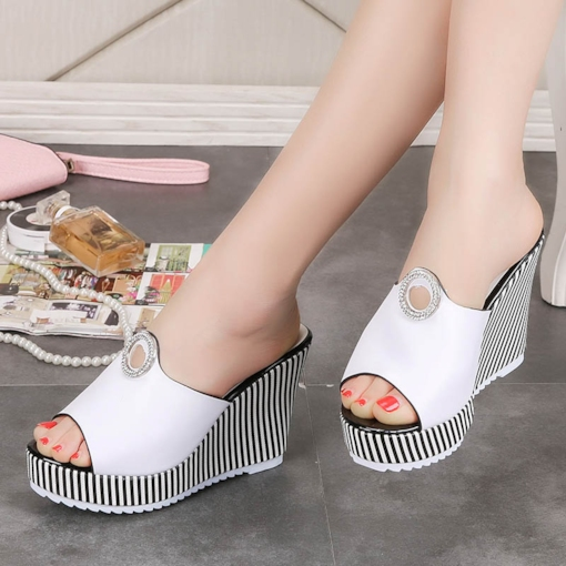 Stripe Heel Rhinestone Shoes Women's Slippers