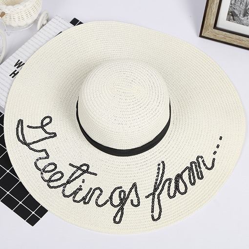 Embroidery Sequins Pulldown Beach Hats