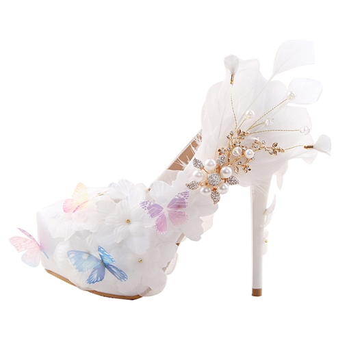Delicacy Butterfly Rhinestone Platform Bride Shoes