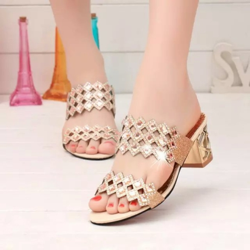 Hollow Out Rhinestone Chunky Heel Slippers
