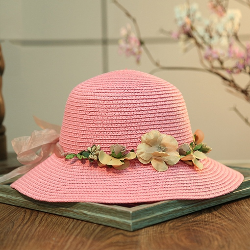 Ribbon Garland Sunscreen Straw Hat