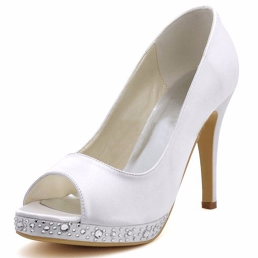 Slik Fabric High Heel Rhinestone Simple Wedding Shoes for Bridal