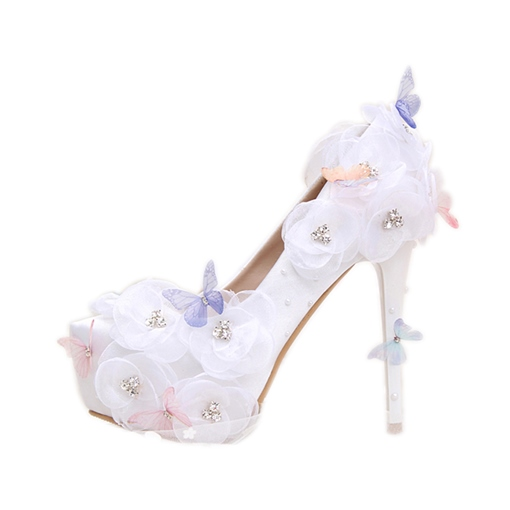 Lace Flower Butterfly Women's Platform Wedding Shoes