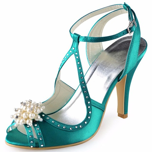 Peep Toe Beads Rhinestone Wedding Shoes for Bridal