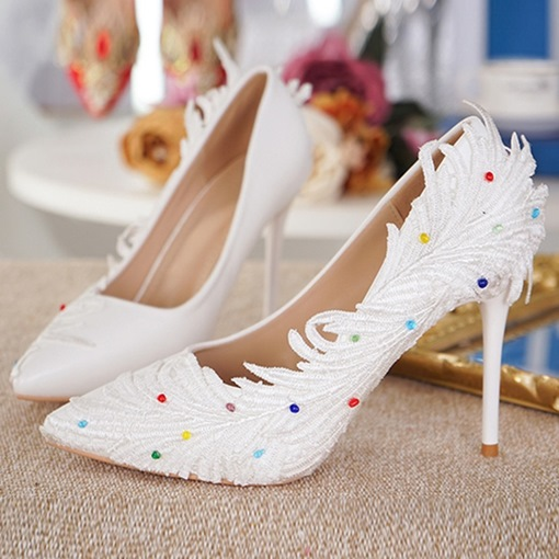 Feather Decoration Colorful Beads Women's Wedding Shoes