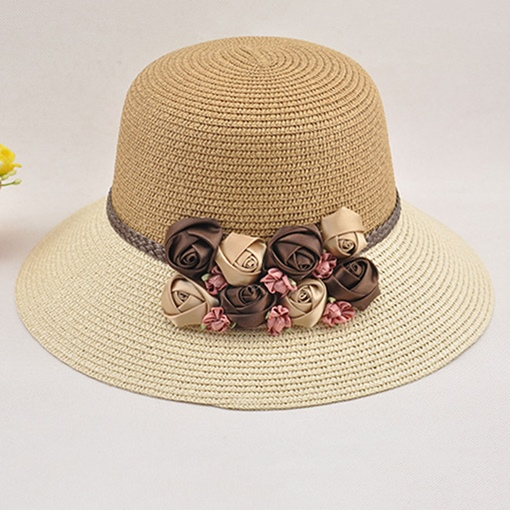 Flower Color Blocking Straw Hat