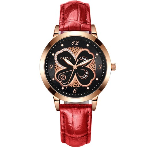 Diamante Flower Artificial Leather Strap Watches