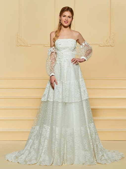 Appliques Lace Wedding Dress with Long Sleeve