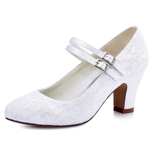 White Lace Flower Buckle Chunky Heel Pumps Wedding Shoes
