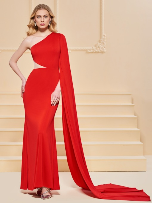 One Shoulder Trumpet Red Evening Dress