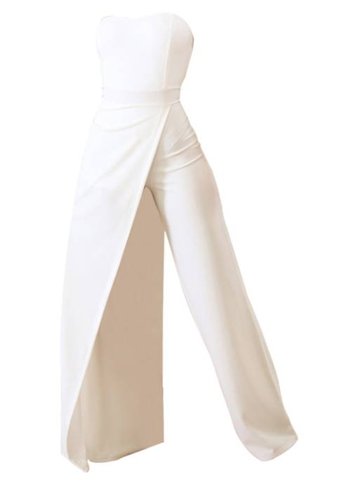 Plain Asymmetric High Waist Wide Legs Women's Prom Jumpsuit
