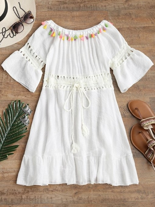Off-The-Shoulder Tassel Hollow Cover-Up