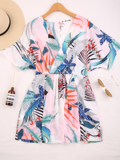 Loose Plant Print Color Block Women's Vacation Jumpsuit