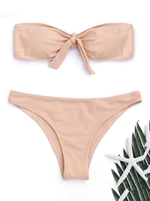 Bandeau Bowknot Zipper Women's Bikini Set