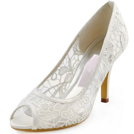Clear Lace Women's White Wedding Shoes for Bridal