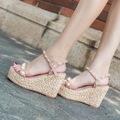 Beads Wedge Heel Buckle Women's Sandals