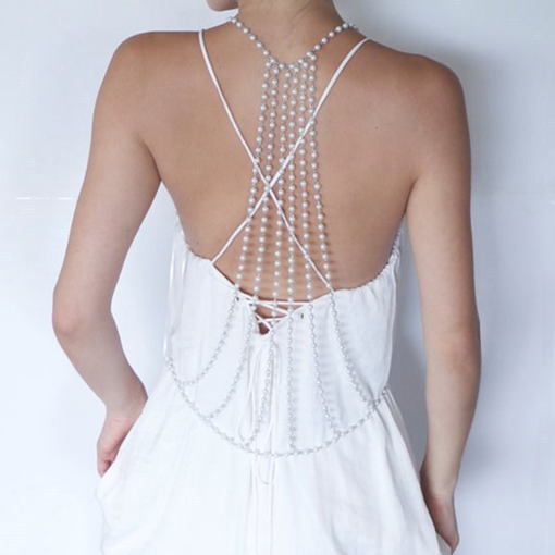 Elegant Imitation Pearl Body Chain Necklace