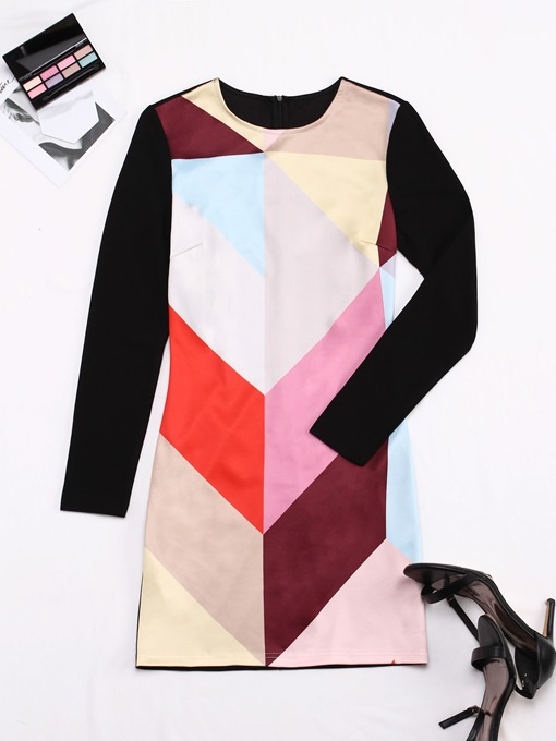 Color Block Back Zipper Women's Sheath Dress