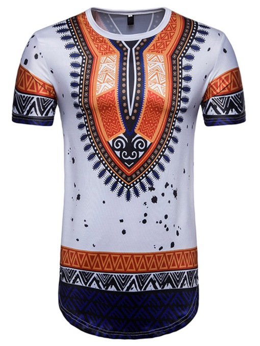 Round Collar Dashiki Print Slim Men's T-Shirt