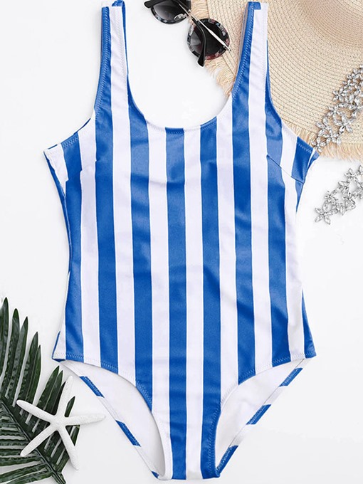 Striped Printed Pure Color Women's One-Piece Swimsuit