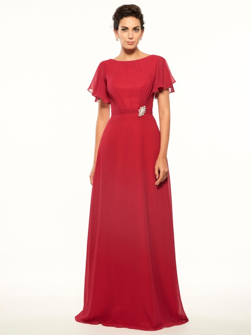 Short Sleeve Low Back Mother of the Bride Dress