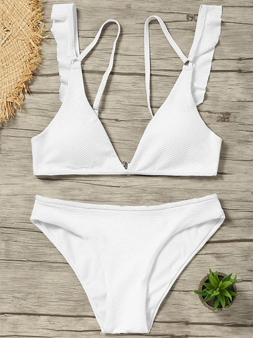 White Color Falbala Zipper Women's Bikini Set