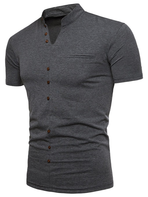 V-Neck Button Decorated Plain Men's T-Shirt