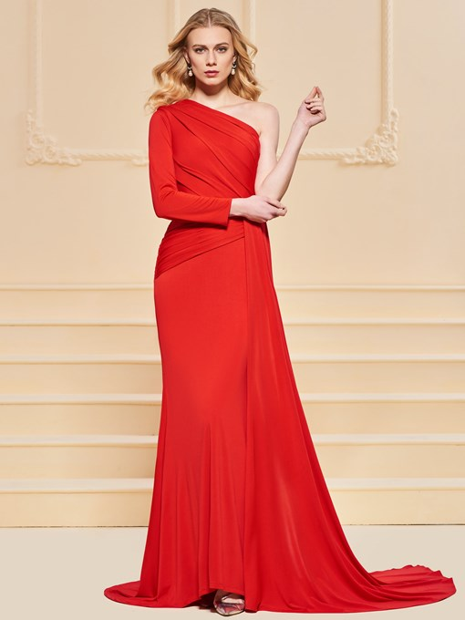 One-Shoulder Pleats A-Line Long Sleeves Evening Dress