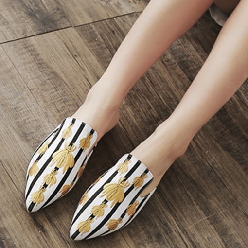 Suede Embroidery Bee Women's Mules Shoes