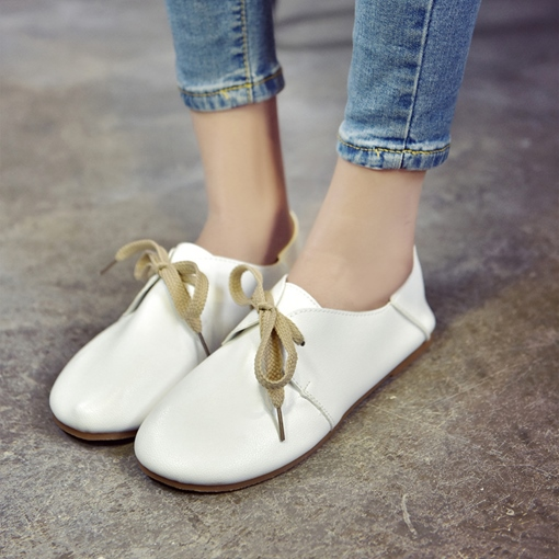 Dual-use Shoes Plain Tie Up Flats for Women