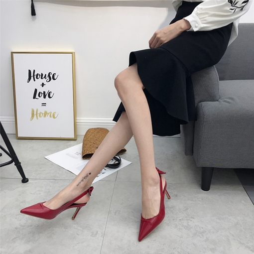 Pointed Toe Bow Sling Back Women's Pumps