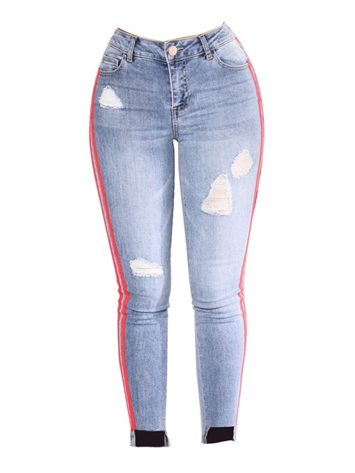 Striped Pocket Stretch Denim High Waist Women's Jeans Trousers