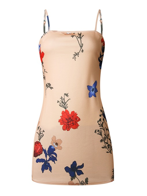 Slip Flower Print Pattern Open Back Women's Dress