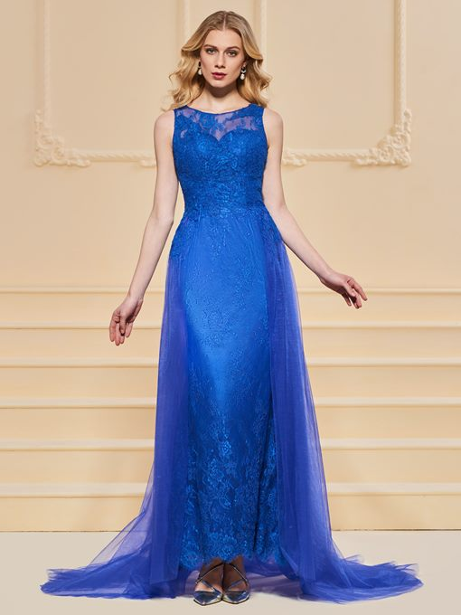 A-Line Bateau Empire Lace Button Evening Dress