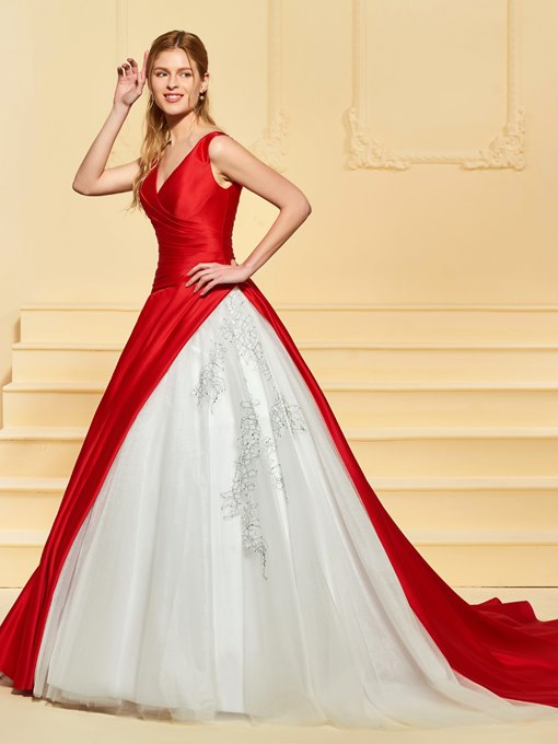 Ball Gown V-Neck Appliques Color Wedding Dress