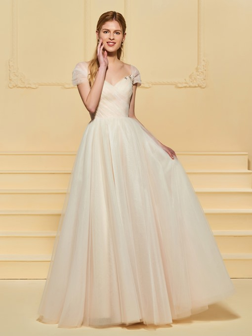 Beading Pleats Cap Sleeve Wedding Dress