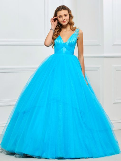 Appliques V-Neck Pleats Quinceanera Dress