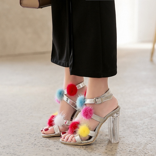 Colorful Pom Pom Chunky Heel Women's Sandals