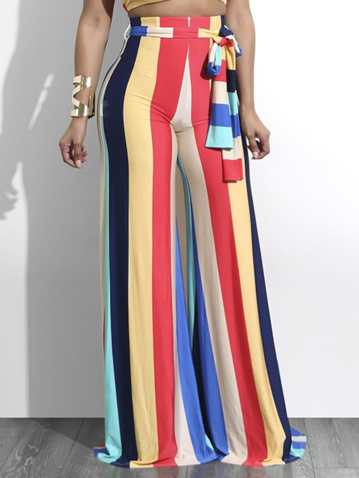 Stripe Color Block High Waist Wide Legs Women's Pants