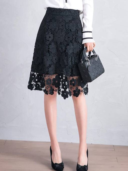 Floral Lace Patchwork A Line Women's Skirt
