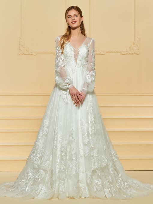 Sheer Back Lace Wedding Dress with Long Sleeve