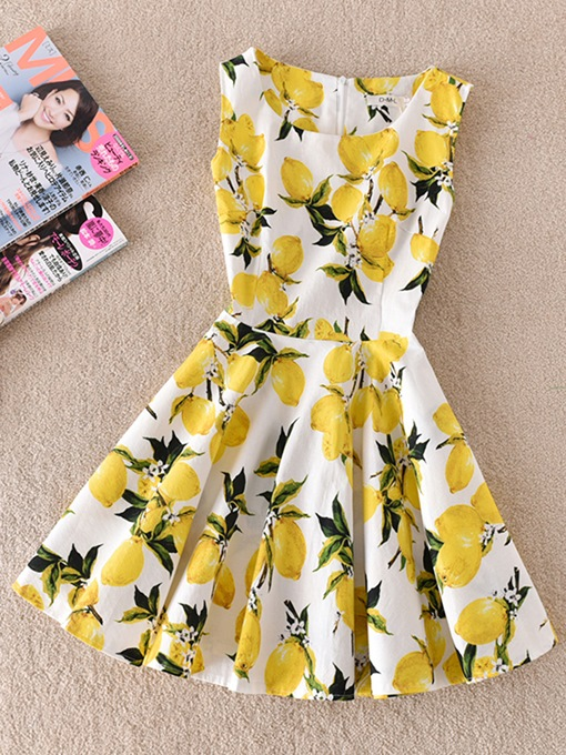 White Yellow Floral Print Women's Day Dress