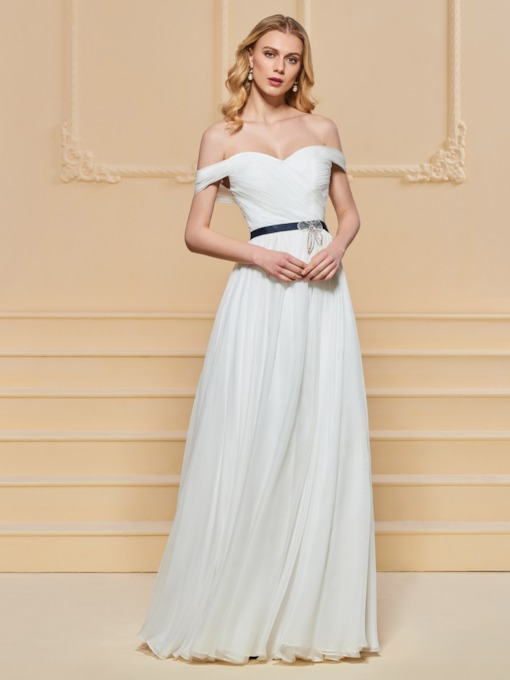 A-Line Sashes Off-the-Shoulder Evening Dress