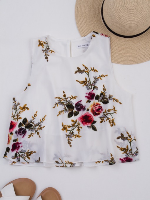 Round Neck Flower Sleeveless Women's Tank Top
