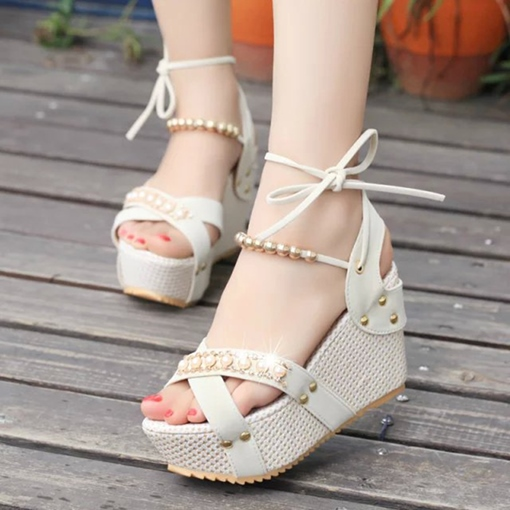 Platform Wedge Heel Ankle Strappy Sandals for Women