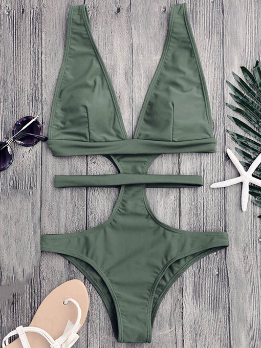 High Neck Solid Color Women's Monokini